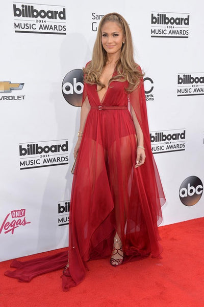 Red Jennifer Lopez (JLo) V Neck Double Slits Dress Cape Prom Best Red Carpet Dress Billboard Music Awards