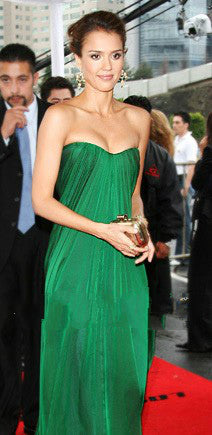 Green Jessica Alba Strapless Dress Ruched Prom Celebrity Formal Dress Mexico Premiere On Sale