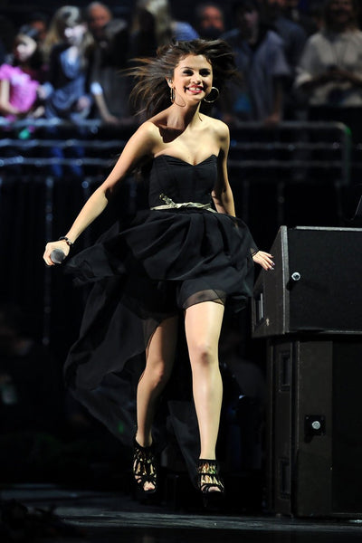 Black Selena Gomez Chiffon Off The Shoulder Dress Golden Belt Prom Celebrity Evening Dress Jingle Ball
