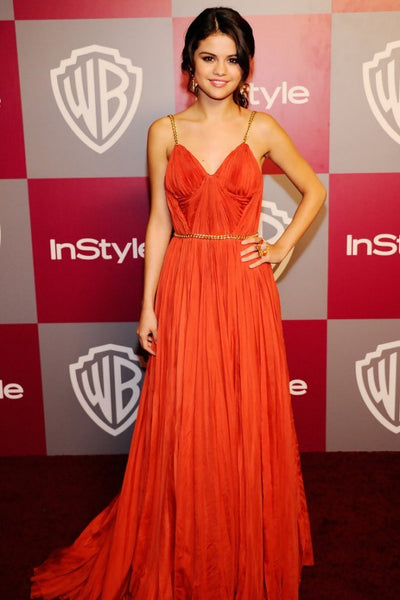 Orange Selena Gomez V Neck Straps Dress Pleated Prom Celebrity Formal Dress Golden Globes Party