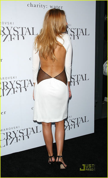 Black White Blake Lively Open Back Dress Long Sleeve Celebrity Formal Dress Swarovski Crystallized Concept Store