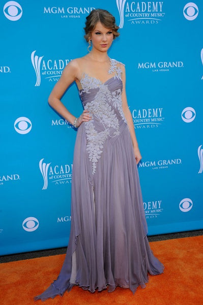 Lavender Taylor Swift Asymmetrical Pastel Dress Pleated Prom Celebrity Dress Country Music Awards