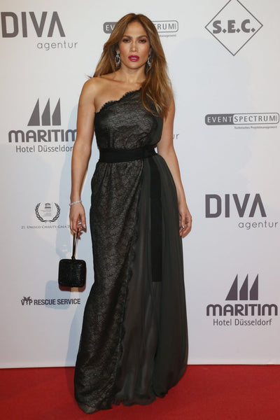 Black Jennifer Lopez (JLo) One Shoulder Dress Classic Prom Red Carpet Dress UNESCO Charity Gala