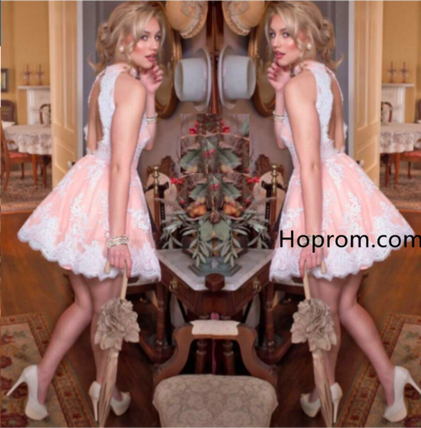 Cute Sleeveless Pink Lace Halter NeckHomecoming Dress