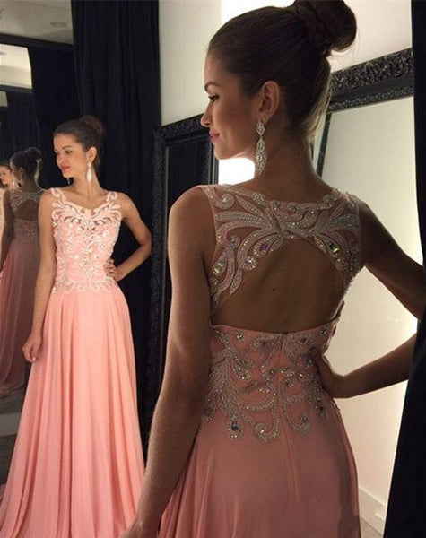 Sleeveless Prom Dresses,Backless Prom Dress,Pink Evening Dress