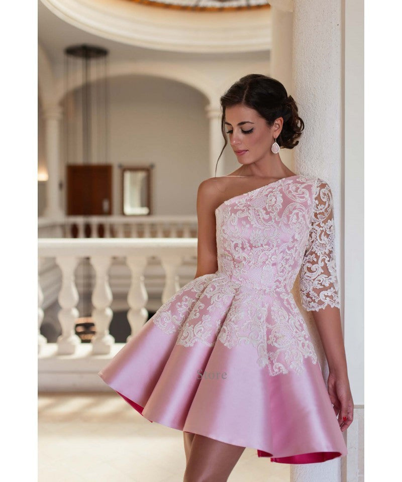 One Shoulder Prom Dresses,Pink Prom Dress,Lace Evening Dress