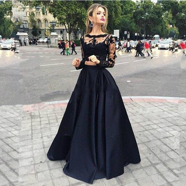 Long Sleeve Prom Dresses,Black Prom Dress,Lace Evening Dress