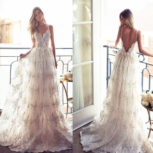 Spaghetti Straps Low Back Wedding Dress, Appliques Lace Bridal Gown
