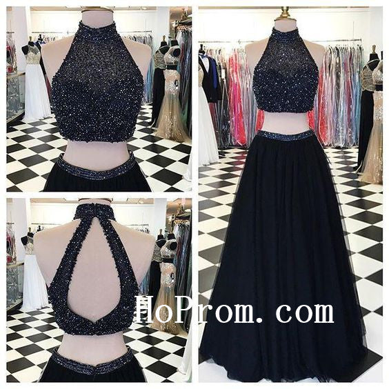 Balck Prom Dresses,High Neck Prom Dress,Long Evening Dress