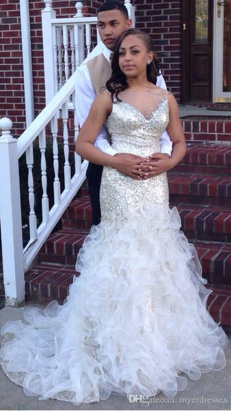 Sparkling Prom Dresses,Sequin Prom Dress,Ruffles Evening Dress