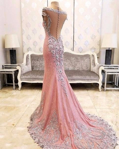 Pink Prom Dresses,Beading Prom Dress,Backless Evening Dress