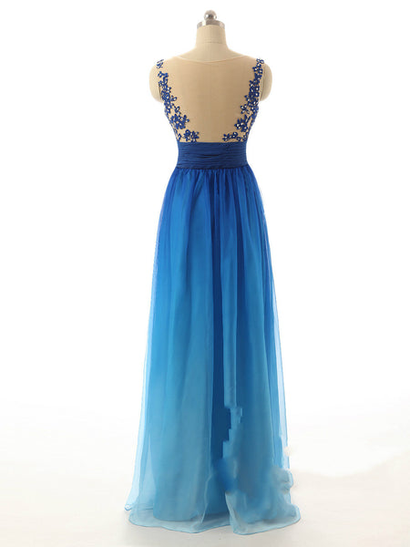 Ombre Blue Prom Dresses,Illusion Back Prom Dress,Beaded Evening Dress