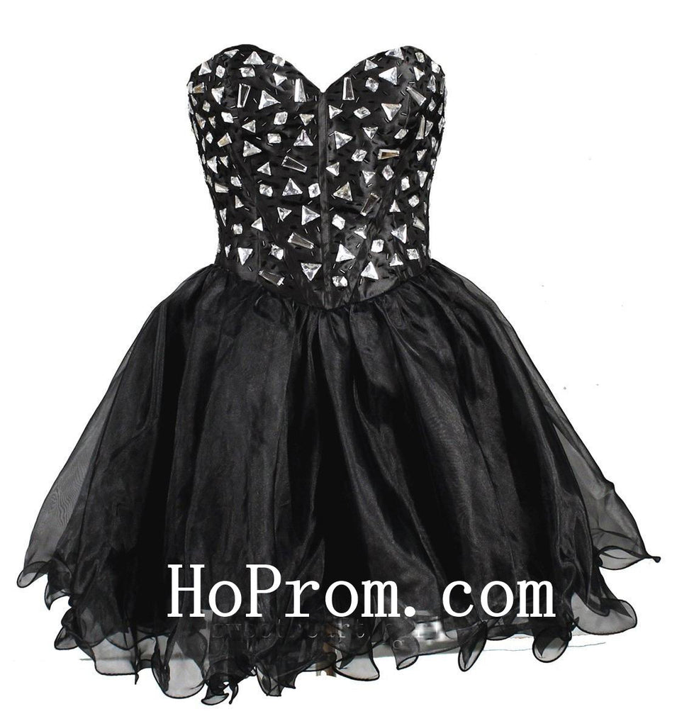 Short Black Prom Dress,A-Line Prom Dresses,Evening Dress
