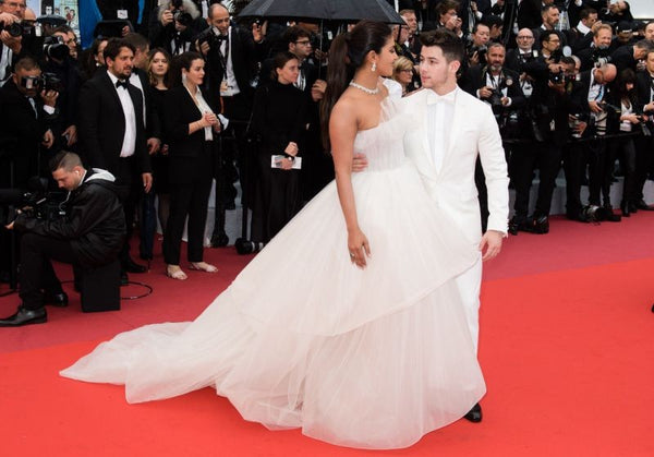 White Priyanka Chopra Strapless Ball Gown Dress A-line Prom Red Carpet Evening Dress Cannes
