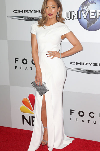 White Jennifer Lopez (J.Lo) Cup Sleeves Slit Prom Celebrity Dress Golden Globes After Party Red Carpet