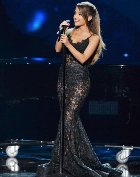 Black Ariana Grande Lace Mermaid Dress Open Back Prom Celebrity Evening Dress American Music Awards