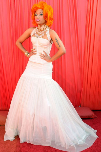 White Nicki Minaj Affordable A Line Dress Long Prom Celebrity Formal Dress Replica At BET Awards