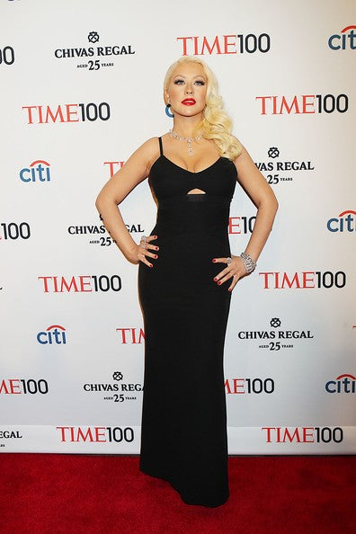 Black Christina Aguilera Spaghetti Straps Dress Keyhole Prom Red Carpet Evening Dress Time 100