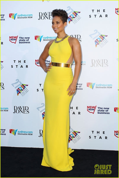 Yellow Alicia Keys Cutout Sheer Side Tight-fitting Dress Metal Belt Prom Red Carpet Evening Dress Aria Awards