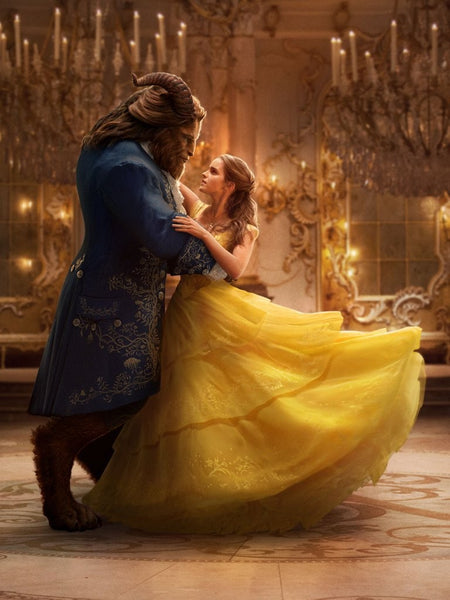 Yellow Emma Watson Tiered Embroidery Prom Celebrity Formal Dress Beauty and the Beast Belle Ball Gown