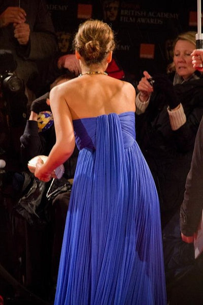 Blue Jessica Alba Strapless Sweetheart Dress Chiffon Gown Prom Red Carpet Evening Dress Bafta Awards