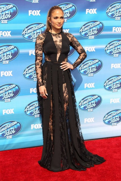 Black Jennifer Lopez (JLo) Long Sleeves Dress Lace Prom Red Carpet Dress American Idol Finale