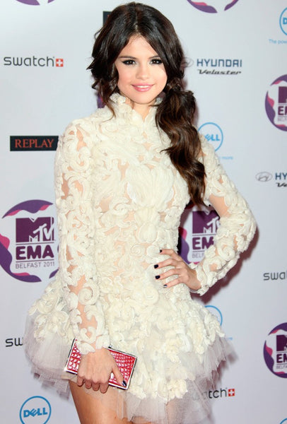 White Selena Gomez Short Lace High Neck Dress Long Sleeves Prom Celebrity Dress MTV EMAs