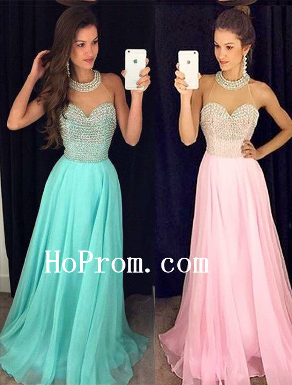 High Neck Prom Dresses,Long Pom Dress,Beads Evening Dress