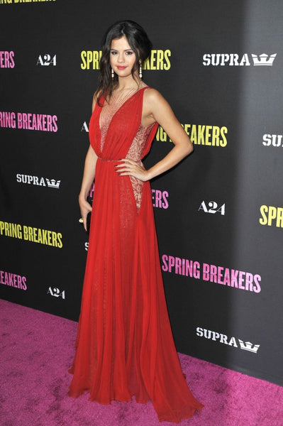 Red Selena Gomez Sexy V Neck Prom Red Carpet Celebrity Dress 'Spring Breakers' LA Premiere