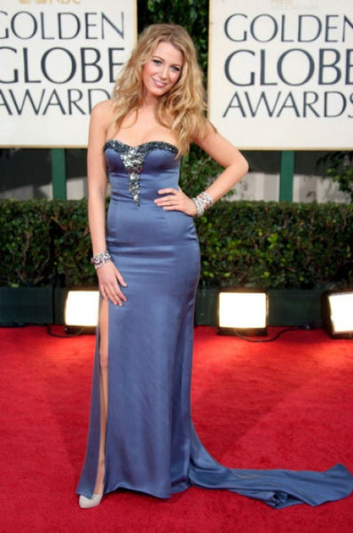 Blue Blake Lively Strapless Slit Sequins Dress Satin Prom Red Carpet Dress Golden Globes