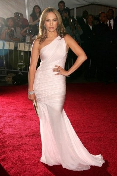 White Jennifer Lopez (JLo) One Shoulder Dress Mermaid Prom Celebrity Red Carpet Dress Met Gala