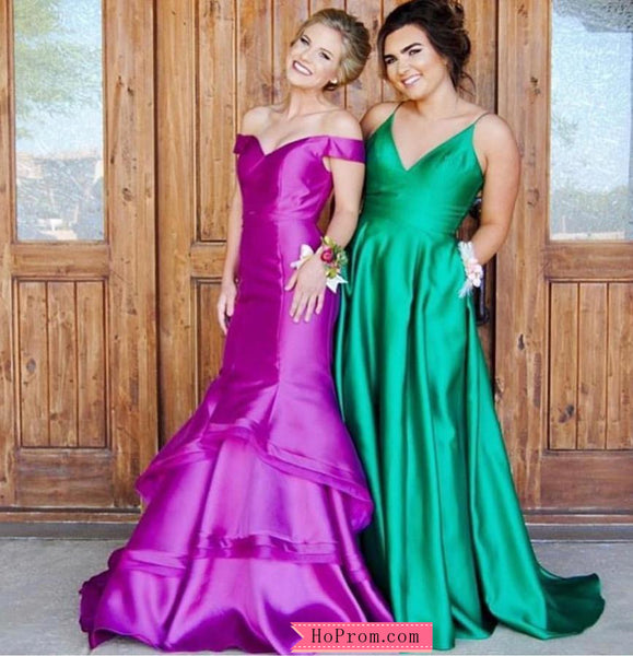 Elegant Purple Layered Skirt Mermaid Prom Dresses