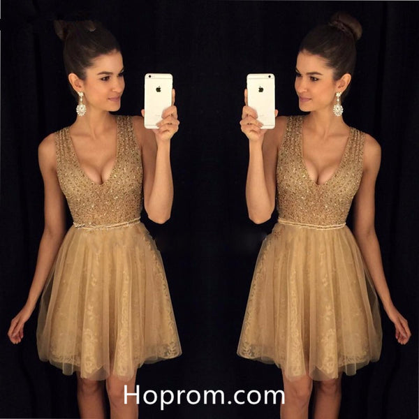 A-Line Bling Beaded Homecoming Dresses Short Lace Girls Graduation Dresses