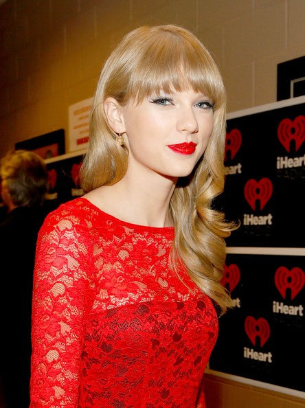 Red Taylor Swift Lace long Sleeves Dress Knee Length Prom Red Carpet Dress IHeartRadio Music Festival