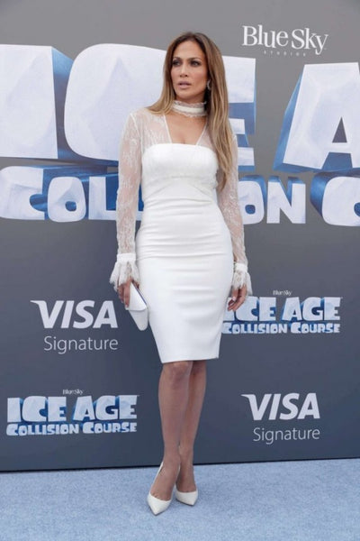 White Jennifer Lopez (JLo) Choker Neck Lace Dress Long Sleeves Prom Celebrity Formal Dress Ice Age: Collision Course Premiere