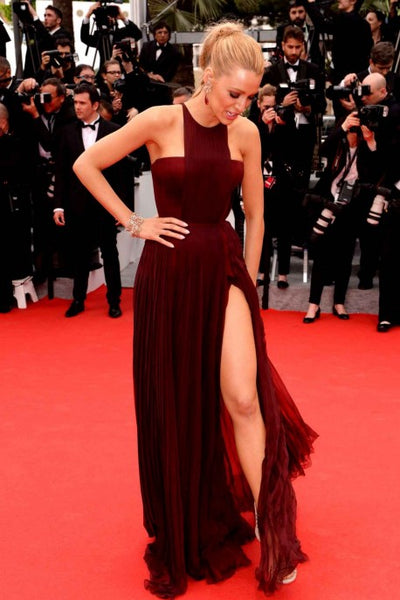 Burgundy Blake Lively Slit Round Neck Dress Best prom Red Carpet Dress Cannes