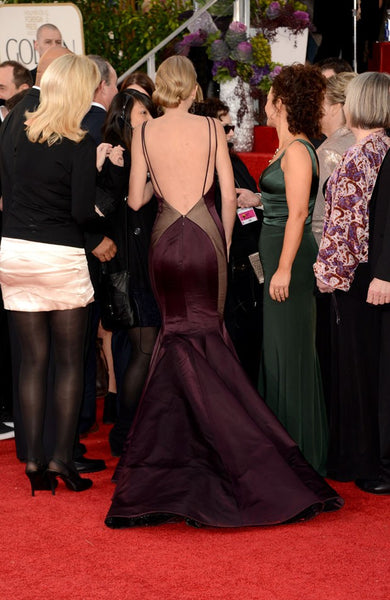 Chocolate Taylor Swift Mermaid Satin Dress Empire Waist Open Back Prom Red Carpet Dress Golden Globes
