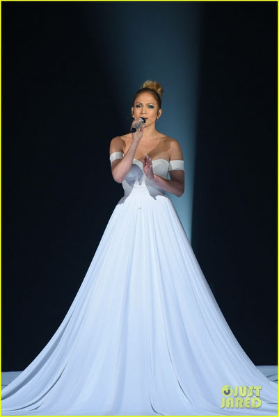 White Jennifer Lopez (JLo) Off the Shoulder Dress Long Prom Celebrity Evening Dress  'Feel the Light' Performance 'American Idol'