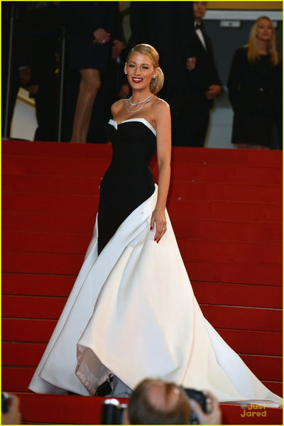 Black White Blake Lively Strapless Dress Modest Prom Ball Gowns Red Carpet Dress Cannes