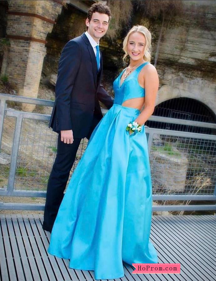 Blue Taffeta A-line Fully Lined Prom Dresses with Open Back