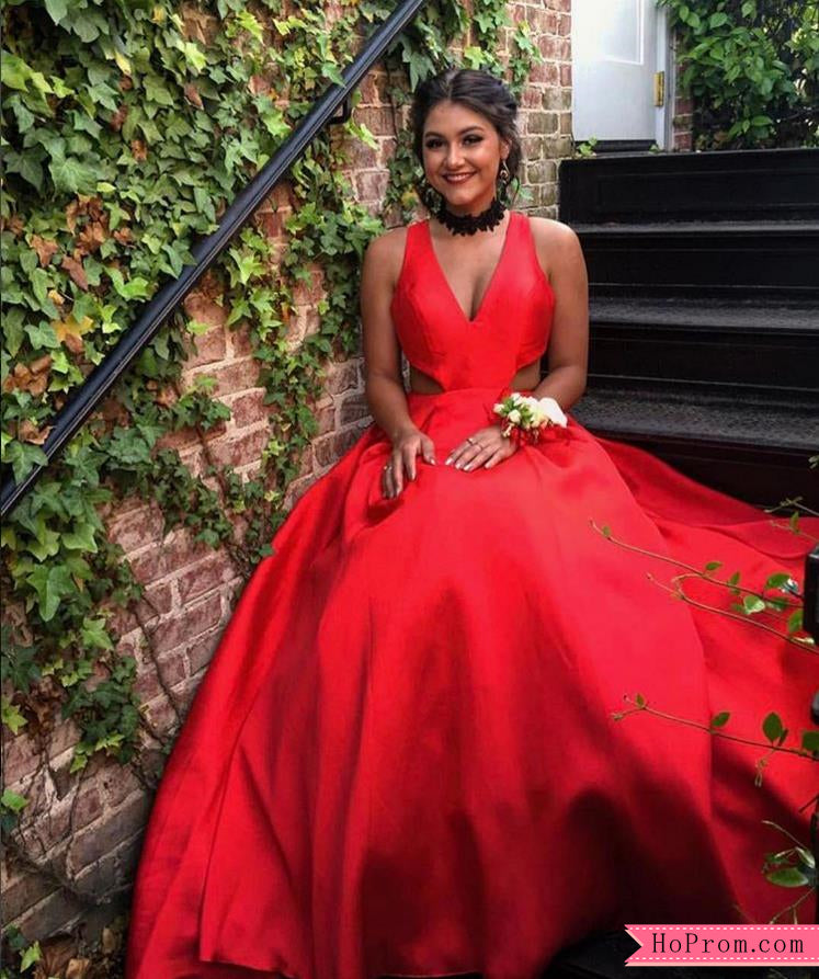 f576f824c97 Red Taffeta A-line Fully Lined Prom Dress with Open Back – Hoprom