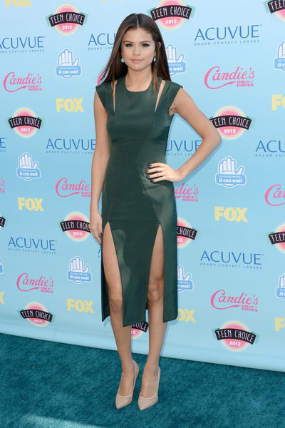 Green Selena Gomez Short Cut Outs Slit Dress Prom Celebrity Formal Dress Teen Choice Awards