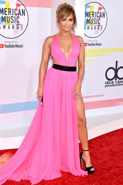 Pink Jennifer Lopez (JLo) V Neck Dress Slit Prom Celebrity Red Carpet Dress AMA