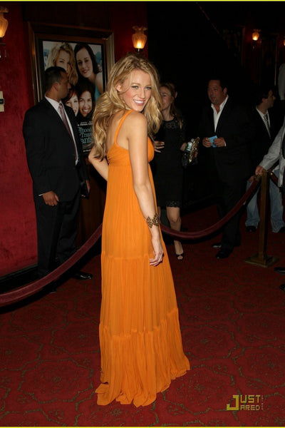 Orange Blake Lively Straps Prom Red Carpet Celebrity Dress The Sisterhood Of The Traveling Pants 2 Premiere