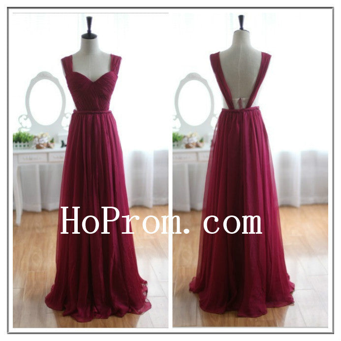 Long Prom Dresses,A-Line Prom Dress,Wine Red Evening Dresses