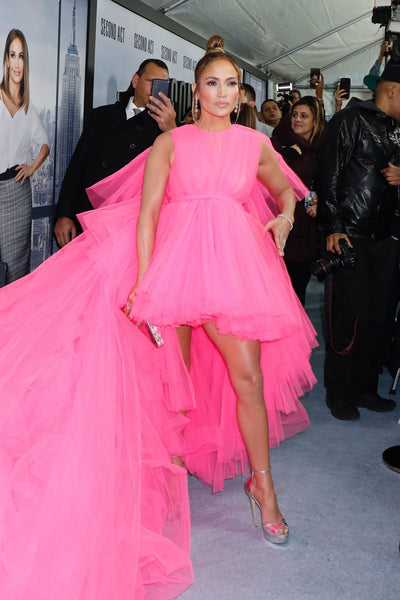 Pink Jennifer Lopez (JLo) Tulle Prom Celebrity Dress 'Second Act' Premiere Red Carpet