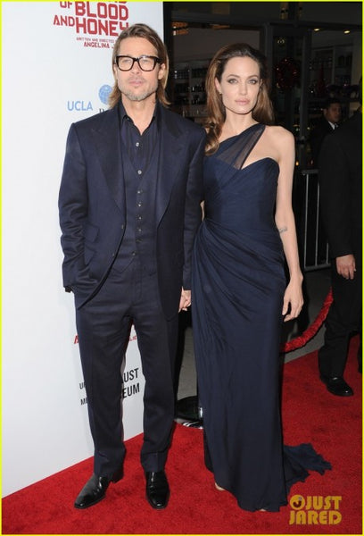 Navy Blue Angelina Jolie One Shoulder Chiffon Prom Celebrity Dress Blood & Honey' LA Premiere Online
