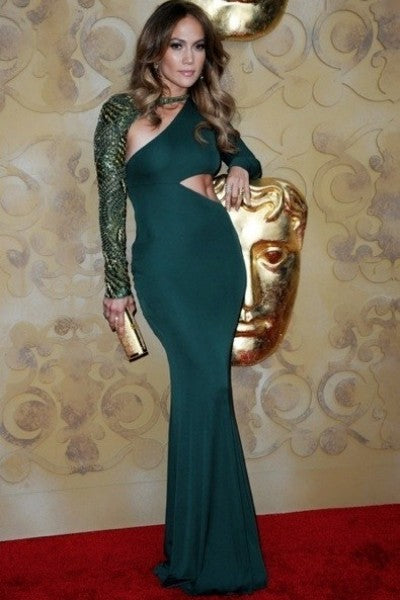 Green Jennifer Lopez (JLo) Sexy Tight Dress Sheath Cut Out Prom Celebrity Dress BAFTA