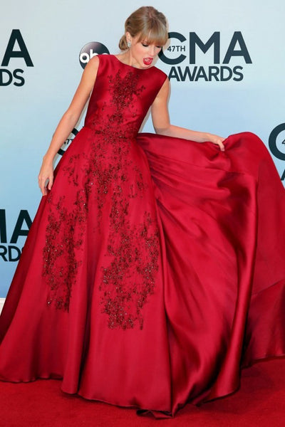 Red Taylor Swift Satin Open Back Dress Sequins Prom Red Carpet Evening Dress CMA Awards