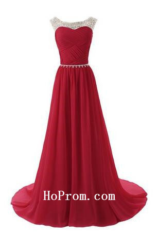 Long Prom Dresses,Red Prom Dress,Evening Dress